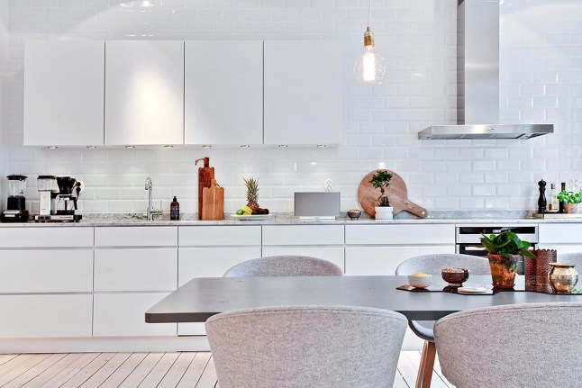White Tiled Kitchen In An Old Building Coco Lapine