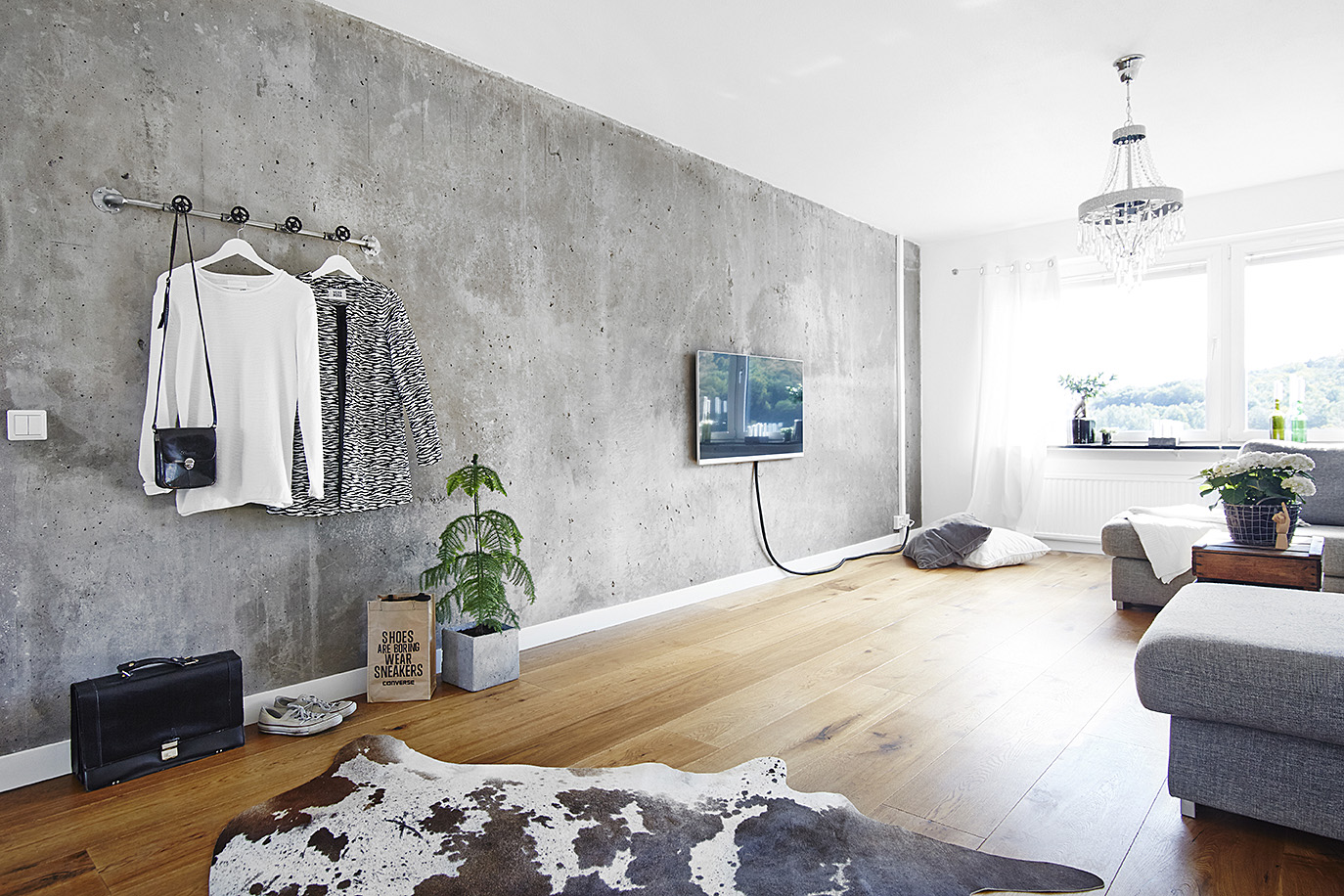 Living Room With A Concrete Wall