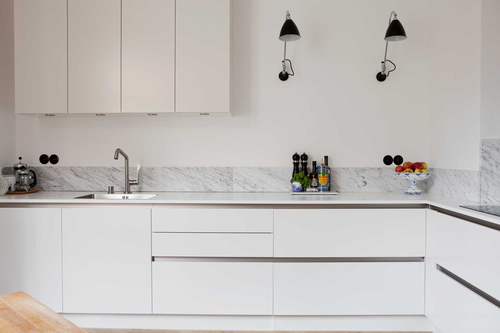 Home with clean lines and two old cabinets - via cocolapinedesign.com