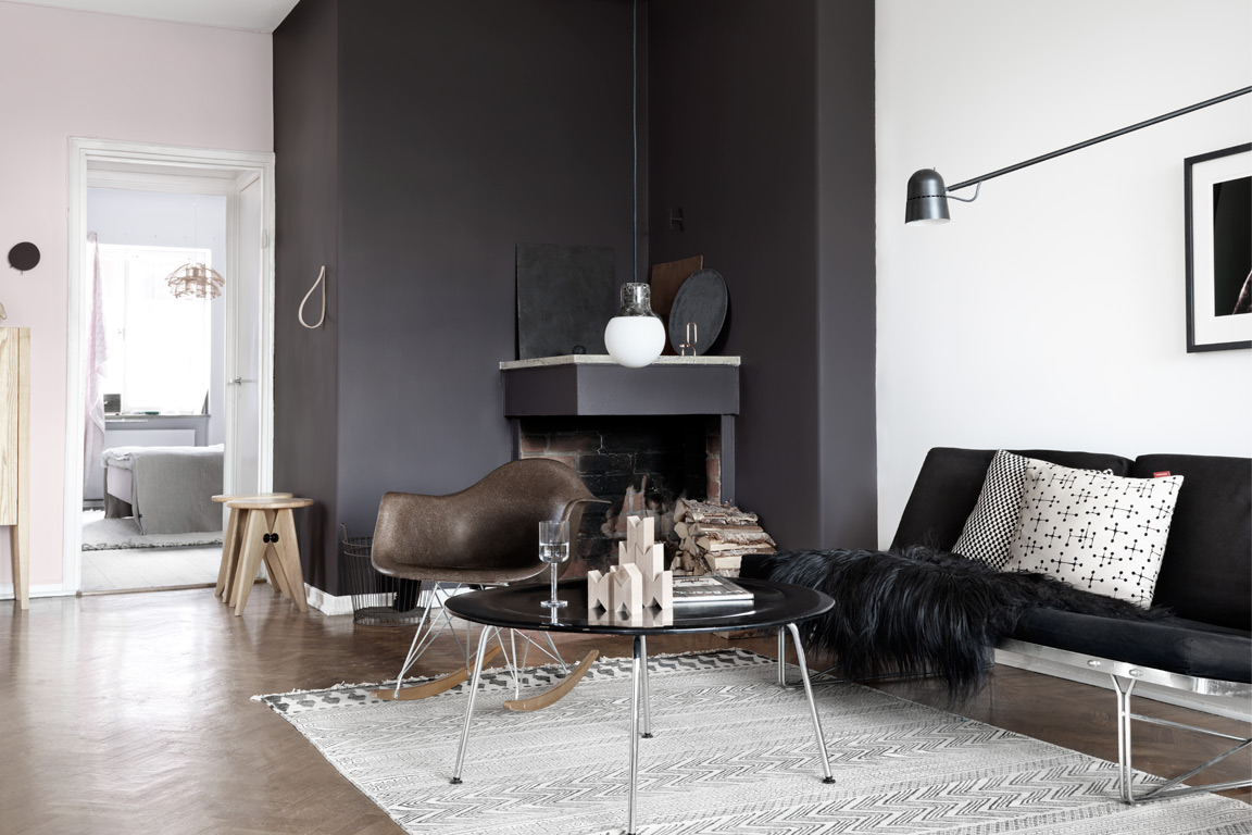 Browns and pink in an apartment with a black wall   coco lapine ...
