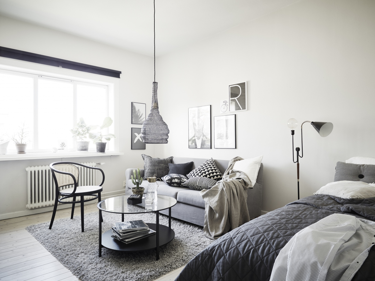 Beautiful home in grey coco lapine designcoco lapine design for Small one room apartment ideas