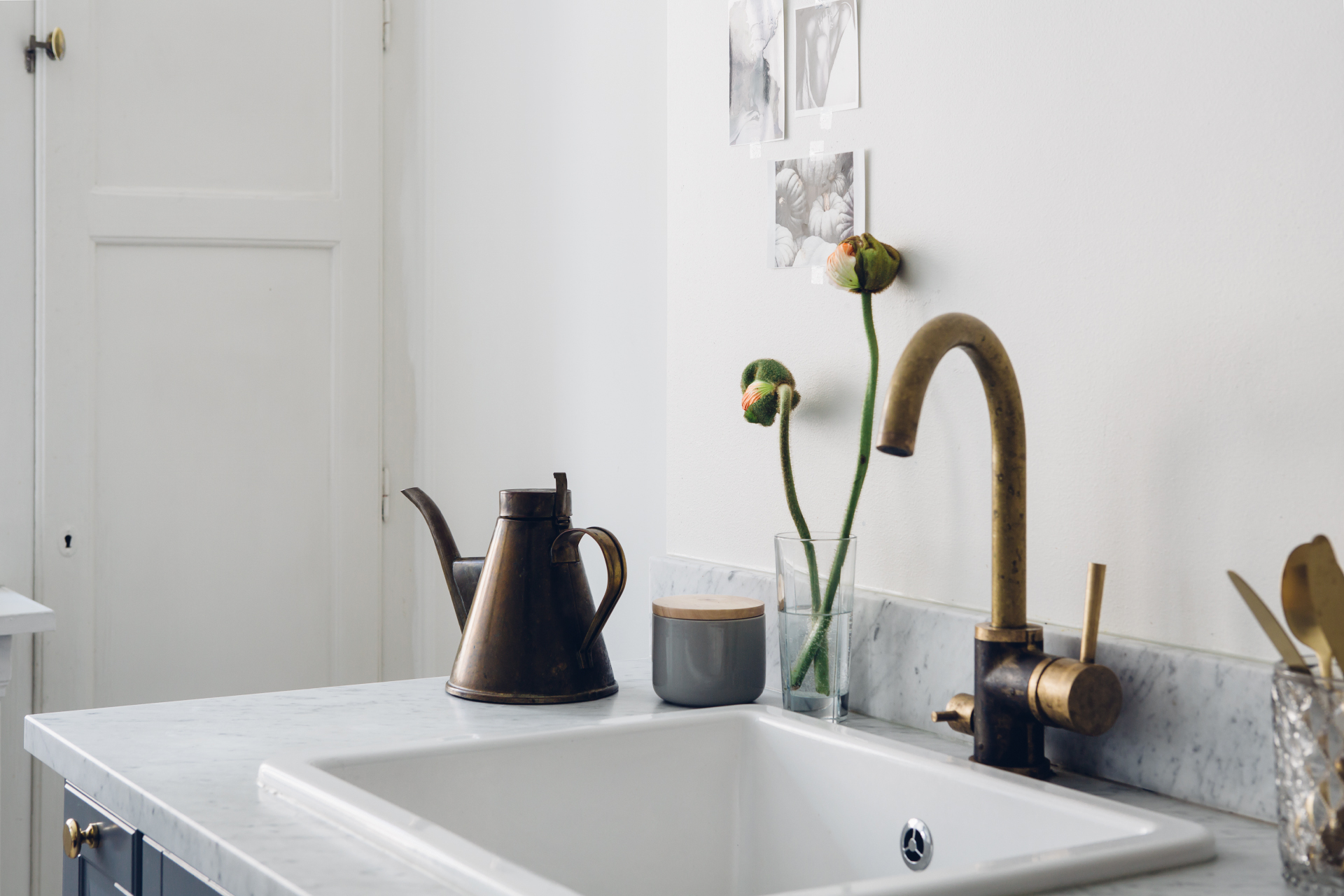 Home With A Grey Kitchen And Brass Details Coco Lapine