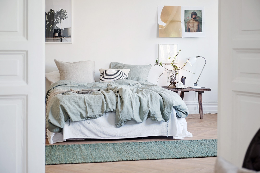 Pastel blue and green in this cozy home - via cocolapinedesign.com