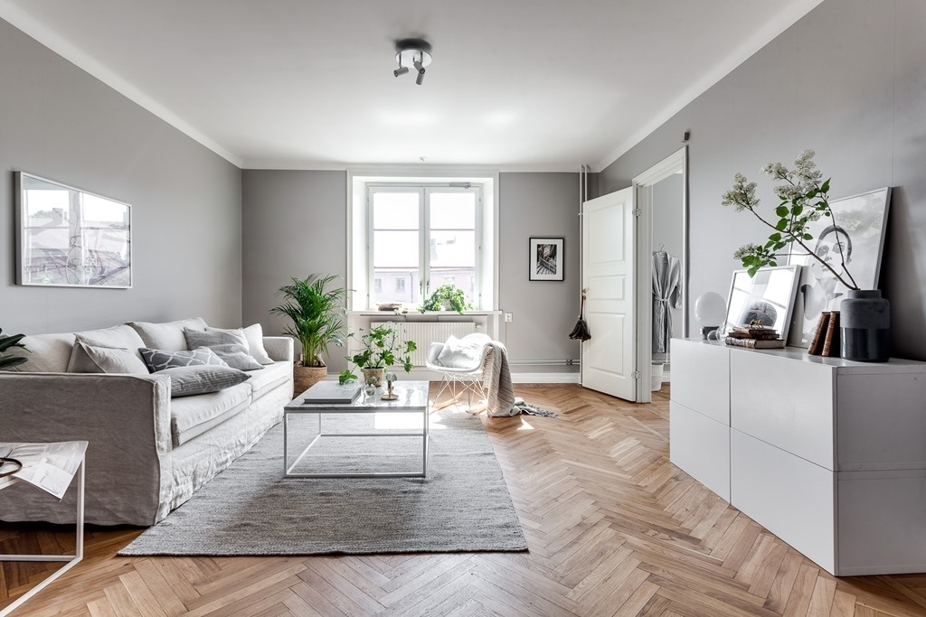 Grey home with a glass partition coco lapine designcoco - Peinture salon blanc et taupe ...