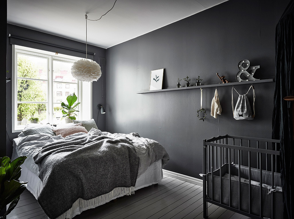 Beautiful dark bedroom coco lapine designcoco lapine design for Black wall room ideas